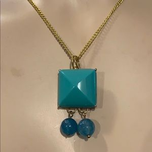 Buckle Faux Turquoise Long Necklace